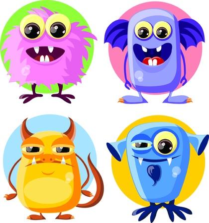 devil horns: Cartoon cute monsters