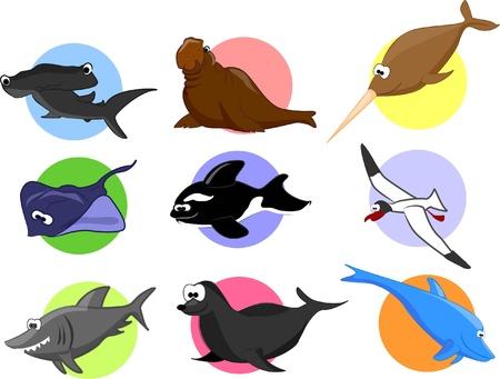 Big set of cartoon marine animals Stock Vector - 19356786