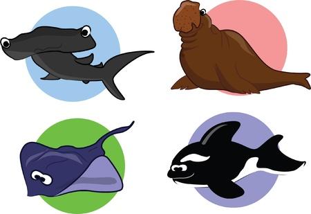 Big set of cartoon marine animals