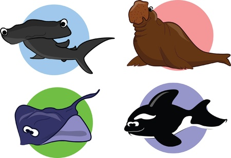 plunging: Big set of cartoon marine animals