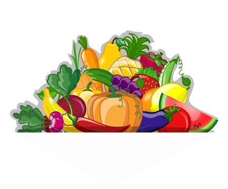 Cartoon vegetables and fruits Stock Vector - 19356788