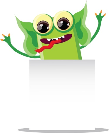 Cartoon cute monster on a white background  Vector