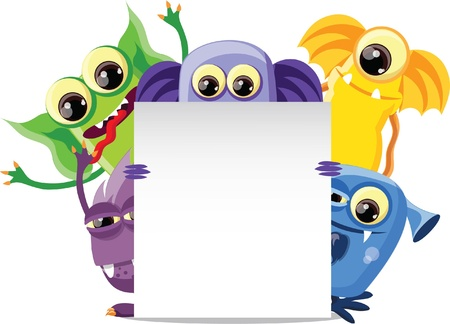 cute creature: Cartoon cute monsters on a white background