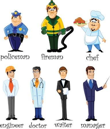 ingegneri: Illustrazione vettoriale di persone diverse professioni Vettoriali