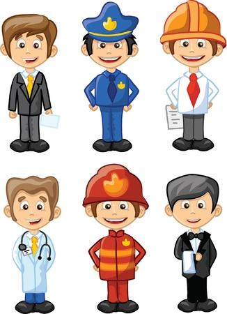 gorra polic�a: Ilustraci?n vectorial de personas diferentes profesiones