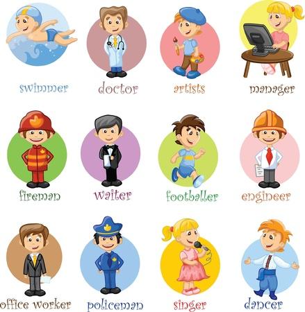 sicurezza sul lavoro: Illustrazione vettoriale di persone diverse professioni Vettoriali