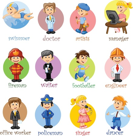 safety at work: Vector illustration of people different professions  Illustration