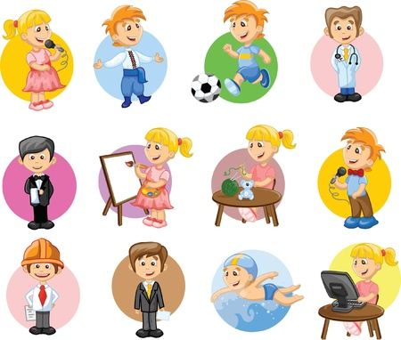 expert: Vector illustration of people different professions  Illustration