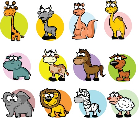 Set of cartoon animals, vector  Vector