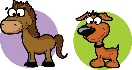 Cartoon animals - horse and dog, vector Vector