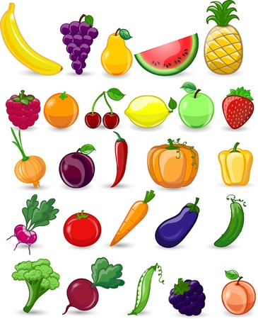 Cartoon vegetables and fruits Illustration