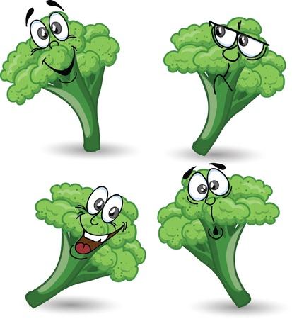 Cartoon broccoli  Vector