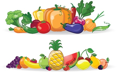 Cartoon vegetables and fruits, background