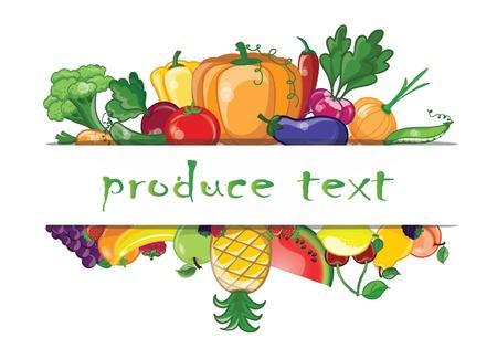 fresh fruit: Cartoon vegetables and fruits