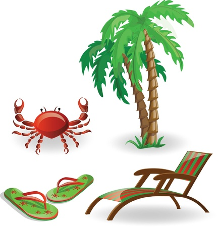 spanking: Travel icons- palm, lounge, flip-flops and crab