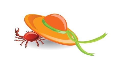 spanking: Travel icon, crab under the hat