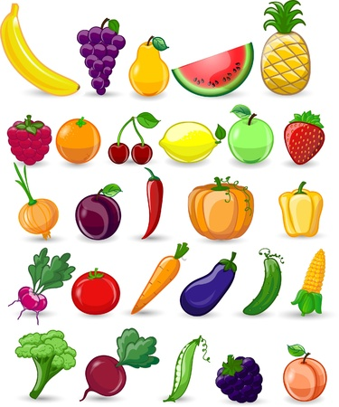 Cartoon vegetables and fruits 版權商用圖片 - 20302582