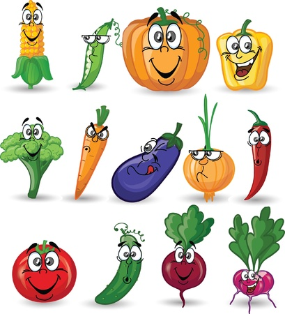 Cartoon vegetables with emotions  Vector