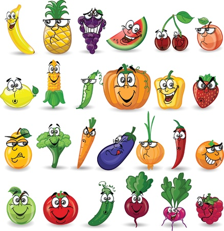 fruit illustration: Cartoon vegetables and fruits