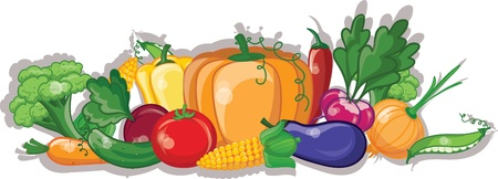 Cartoon vegetables, vector background Vector