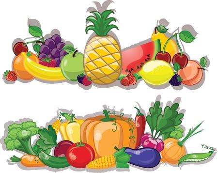 mercado: Vegetais dos desenhos animados e frutas, fundo Ilustração