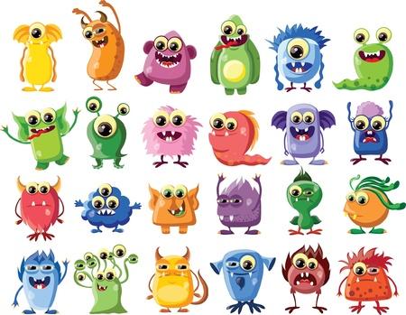 Caricatura lindo monstruos Vectores