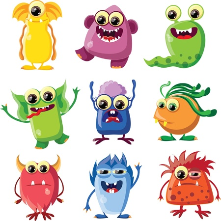 monster teeth: Cartoon cute monsters