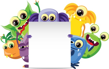 whimscal: Cartoon cute monsters with banner