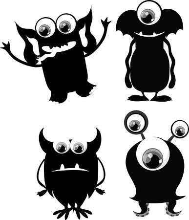 toy story: Cartoon cute black and white monsters Illustration