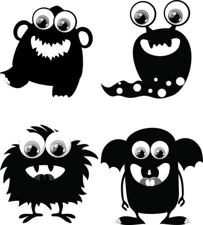 ogre: Cartoon cute black and white monsters Illustration