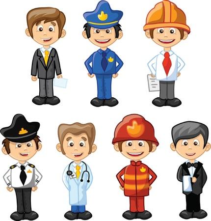 doctor dibujo animado: Cartoon personajes gerente, chef, polic?a