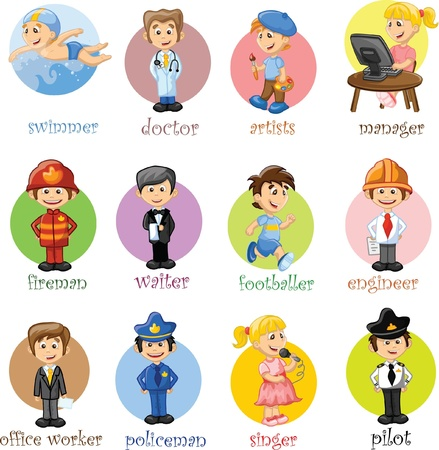seguridad laboral: Personajes de dibujos animados Vectores
