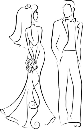 Silhouette of bride and groom