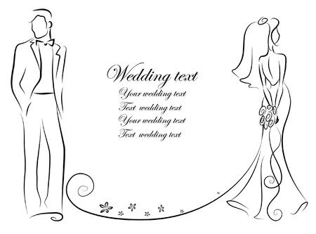 Silueta de la novia y el novio Vectores