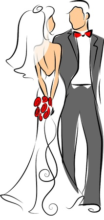 신부와 신랑의 실루엣 일러스트