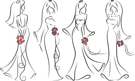 Silhouet van bruiden Stock Illustratie
