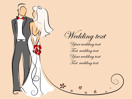 bridegroom: Silhouette of bride and groom, background