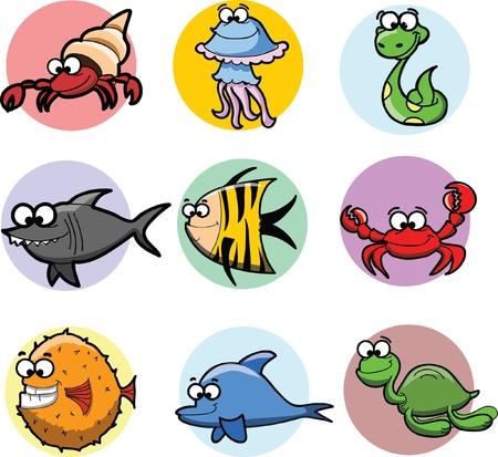 zoology: Set of cartoon animals