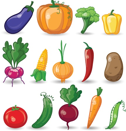 Cartoon vegetables and fruits Banco de Imagens - 21632371