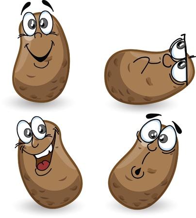 Cartoon aardappelen met emoties