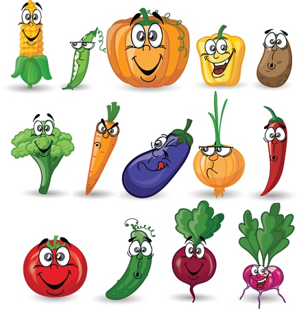 verduras: Cartoon verduras y frutas Vectores