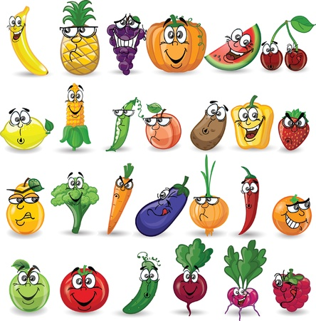 tomato juice: Cartoon vegetables and fruits