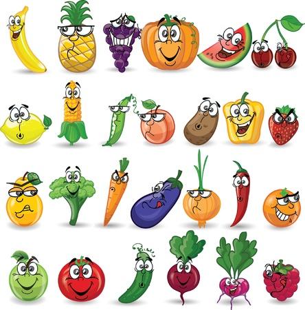 Legumes e frutas dos desenhos animados Ilustración de vector