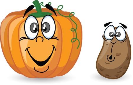 Patatas de dibujos animados y calabaza