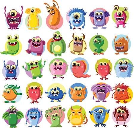 cute: Caricatura lindo monstruos Vectores