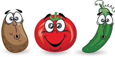 Cartoon potato, tomato and cucumber
