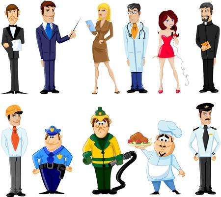 sicurezza sul lavoro: Cartoon caratteri manager, cuoco, poliziotto Vettoriali