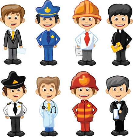 emergency services occupation: Cartoon characters manager, chef,policeman Illustration