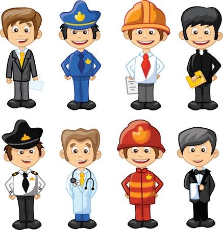 Cartoon personajes gerente, chef, polic?a