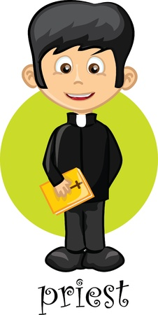 people in church: Cartoon character priest